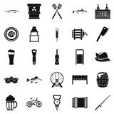 Fishery icons set, simple style. Fishery icons set. Simple set of 25 fishery vector icons for web isolated on white background Royalty Free Stock Photo