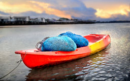Fishery kayak with traw for catct the fish. In morning lighting Royalty Free Stock Photo