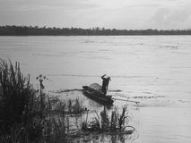 Fishery life in Mae Khong River Stock Photos