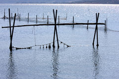 Fishery nets in Lago di Varano, Italy Royalty Free Stock Images