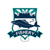 Fishery vector isolated badge icon or emblem Stock Photography