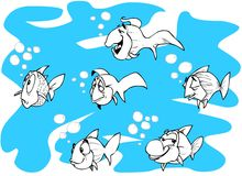 Fishes. Cartoon fishes in line art Royalty Free Stock Photo