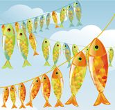 Fishes. Many colored bright fishes on blue background Royalty Free Stock Images