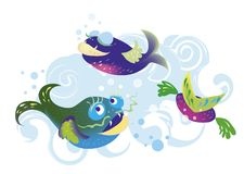 Fishes. Three fishes royalty free illustration