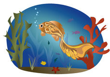 Fishes on the background of a sea landscape Royalty Free Stock Photo