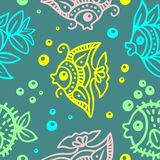 Fishes Batik Style Seamless Pattern Vector Design. Cute Little Colorful fishes Stylized Doodles, Designed as African Batik/Wax Style, and assembled to compose a vector illustration