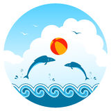 Fishes and beach ball Stock Images