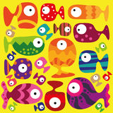 Fishes. Beautiful collection of tropical fish on the yellow background Stock Photography