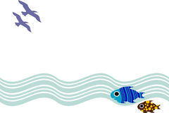Fishes and birds. Illustrated background design Stock Images