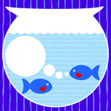 Fishes birthday invitation card stock illustration