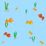 Fishes. On the blue background seamless pattern royalty free illustration