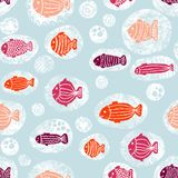 Fishes in bubbles pink orange white blue seamless pattern stock photos
