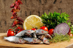 Fishes on a chopping board Stock Images
