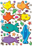 Fishes Colorful Set_eps. Illustration of fishes colorful set on white background Royalty Free Stock Images