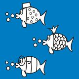 Fishes, coloring book Royalty Free Stock Photography