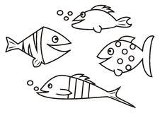 Fishes - coloring book Royalty Free Stock Photos