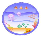 Fishes corals and jellyfishes - ocean. Marine life through a porthole. Digital illustration for children stock illustration