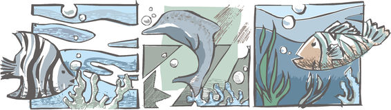Fishes and delfin. Under the see, three squares vector illustration