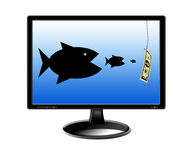 Fishes devouring each other and pursuing for money. On the screen of monitor Royalty Free Stock Images