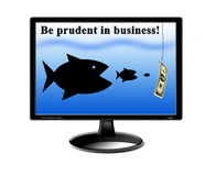 Fishes devouring each other and pursuing for money. On the screen of monitor Stock Photo