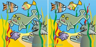 Fishes-10 difference Royalty Free Stock Images