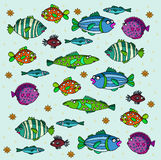 Fishes. Different fishes on a blue background. Vector illustration. Author's drawing Royalty Free Stock Photo