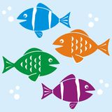 Fishes. Different fish of different colors - background Stock Images