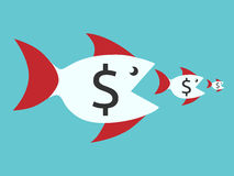 Fishes with dollar signs. Eating smaller ones. Food chain, finance, money, competition, merger, business, monopoly concept. EPS 8 vector illustration, no Stock Photography