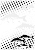 Fishes dots poster background Stock Photography