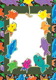 Fishes Fight Card_eps. Illustration of fishes want earthworm frame with seamless pattern background Stock Photos