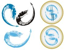 Fishes and fish emblem Stock Image