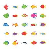 Fishes Flat Vector Icons vector illustration