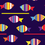 Fishes funny seamless pattern Stock Images