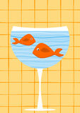 Fishes on a glass invitation Card. Invitation day card with orange fishes on a cocktail drink Royalty Free Stock Photos