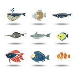 Fishes group watercolor painting Stock Image