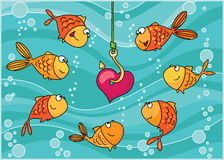 Fishes and heart. An illustration of a fishes and heart Stock Image