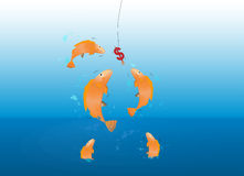 Fishes jumping over the sea grabbing eating dollar sign bait on metal hook. Investment financial business concept vector illustration Stock Photos