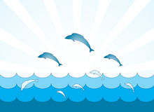 Fishes jumping over the waves Stock Photo