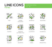 Fishes - line design icons set Royalty Free Stock Images