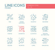 Fishes - line design icons set Royalty Free Stock Photography