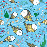 Fishes in love pattern. Pattern with sea life objects. Seamless pattern with fishes, corals, bubbles and heart. Sea life vector illustration. Cartoon style Royalty Free Stock Photography