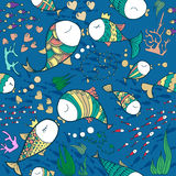 Fishes in love pattern. Pattern with sea life objects. Seamless pattern with fishes, corals, bubbles and heart. Sea life vector illustration. Cartoon style Royalty Free Stock Image
