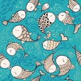 Fishes in love pattern. Pattern witg sea life objects. Seamless pattern with fishes, corals, bubbles and heart. Sea life vector illustration. Cartoon style Royalty Free Stock Image