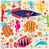 Fishes and marine life Stock Photo