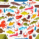 Fishes and mollusks fishing vector seamless pattern. Fishing seamless pattern of fish and mollusks catch. Vector seafood crab, salmon trout and tuna or flounder stock illustration