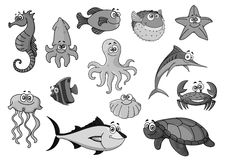 Fishes and ocean animals cartoon vector icons Stock Photos