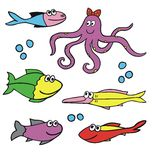 Fishes and octopus vector Royalty Free Stock Image