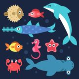 Fishes and others underwater animals. Stylized flat illustrations. Underwater sea fish, ocean nature, dolphin and seahorse vector Royalty Free Stock Images
