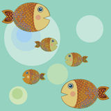 Fishes. Pattern with fishes and bubbles Royalty Free Stock Image