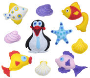 Fishes and Penguin Stock Image